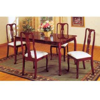 shaped top table, and solid wood chairs with white padded seats