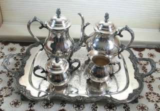 Silversmiths Silver Plate Tea Coffee Set Service w/ Large Tray