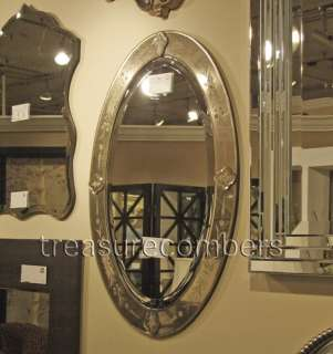 HORCHOW Madeline Oval Etched Venetian Wall MIRROR Luxe