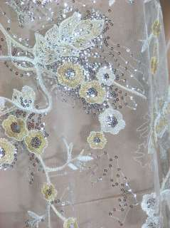 b320 White,Sequin Fabric for Bridal Dress Gowns by Yard