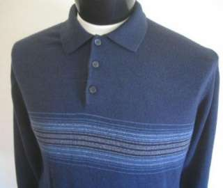 DOCKERS 100% ACRYLIC Navy Blue L Polo shirt Sweater LS