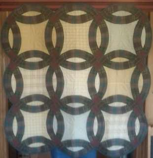 DOUBLE WEDDING RING PLAID 44 QUILTED WALLHANGING ~ TABLE TOPPER