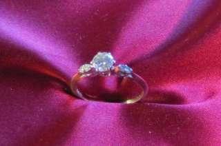 White Gold Diamond Wedding & Engagement Ring Set 1968 Vintage
