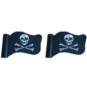 Flag Skull Crossbones Car Truck SUV Antenna Topper   2PK Automotive